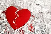 picture of love hurts  - broken love heart with staples on ice cubes - JPG