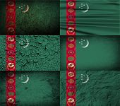 pic of turkmenistan  - Flag of Turkmenistan with old texture - JPG