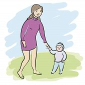 stock photo of heartwarming  - Vector sketch mother walks with the kid - JPG