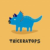 picture of dinosaur  - Blue triceratops dinosaur for children education - JPG