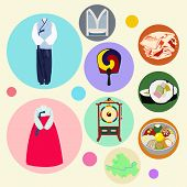 stock photo of drum-set  - Korean traditional elements vector set - JPG