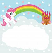 picture of pegasus  - Card with a cute unicorn rainbow and fairy - JPG