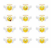 stock photo of halo  - Smile Pack angels with wings and a halo over his head with different emotions - JPG