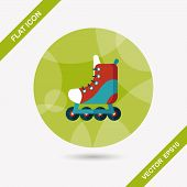 stock photo of roller-skating  - Roller Skates Flat Icon With Long Shadow - JPG