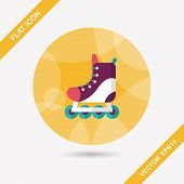foto of roller-skating  - Roller Skates Flat Icon With Long Shadow - JPG
