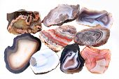 foto of agate  - agate mineral collection isolated on the white background - JPG