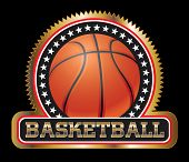 stock photo of basketball  - Basketball Seal or Emblem is an illustration of a basketball design including basketball - JPG