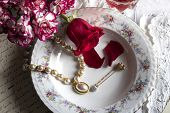 image of dinner invitation  - love romantic dinner with  jewelry and flowers - JPG