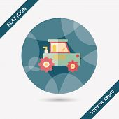 picture of excavator  - Transportation Excavator Flat Icon With Long Shadow - JPG