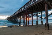 foto of storms  - Newport Beach Pier before for the storm arrives - JPG