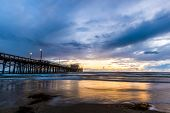 image of storms  - Newport Beach Pier before for the storm arrives - JPG