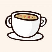 stock photo of high calorie foods  - Fast Food Soup Flat Icon Elements - JPG