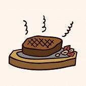 foto of high calorie foods  - Fast Food Steak Flat Icon Elements - JPG