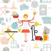 picture of housekeeper  - Busy housekeeper simultaneously doing many tasks around the house - JPG