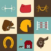stock photo of saddle-horse  - Detailed set of equestrian icons - JPG