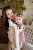 picture of pink eyes  - Young beautiful woman and mother - JPG