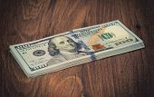 picture of 100 dollars dollar bill american paper money cash stack  - Stack of one hundred dollar bills close up - JPG