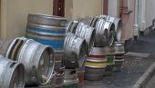 foto of keg  - Beer kegs on a side street outside a pub - JPG