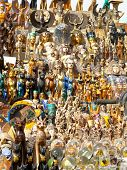 picture of nefertiti  - Typical merchandise of souvenirs in a street market at Cairo  - JPG