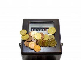 image of electricity meter  - electricity meter with Thirteen numbers and European currencies - JPG