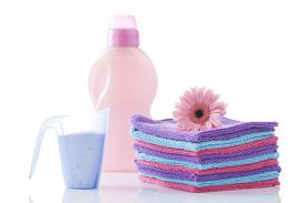 picture of detergent  - towels and laundry detergent isolated on white - JPG