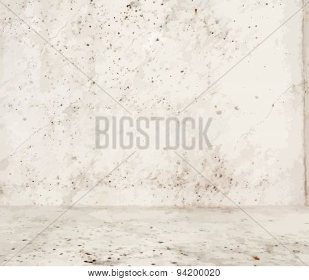 empty room with concrete wall, grey background, vector