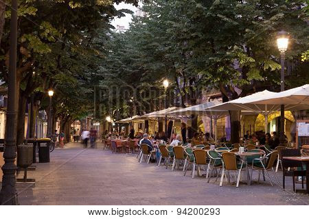 Sidewalk Cafes In Girona, Spain