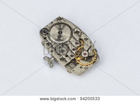 Mechanism Of Old Wristwatches With Gears And Wheels
