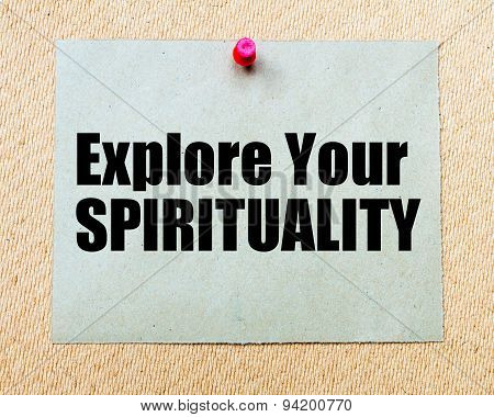 Explore Your Spirituality Written On Paper Note