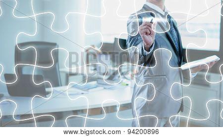 Businessman Draw Jigsaw Line, Business Strategy Concept