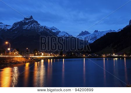 Eugenisee Lake And Engelberg At Sunset