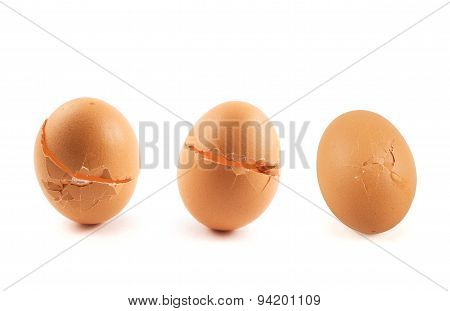 Three cracked broken egg shells