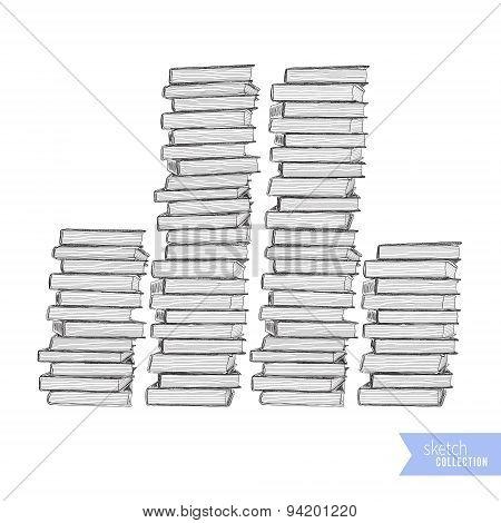 Hand drawn books sketch