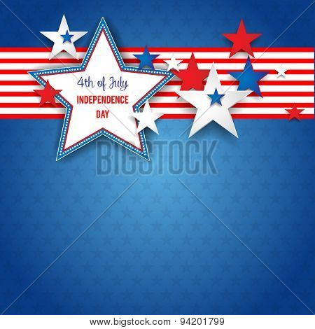 Independence day abstract background with stars and place for text.