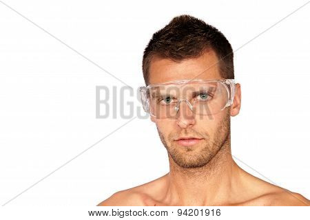 Man with protective goggles
