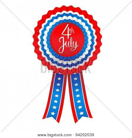 July fourth badge. Holiday ribbon isolated on white background