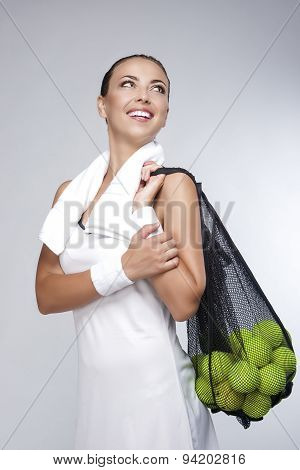 Healthy Lifestyle Concept: Closeup Portrait Of Professional Female Tennis Player Holding Plenty Of B