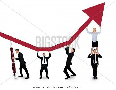 Isolated business team push graphic arrow up