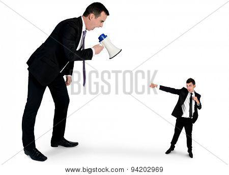 Business man screaming on megaphone on little man