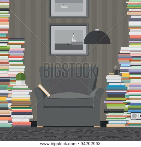Colorful vector banner. Library. Workspace. Quality design illustration, elements and concept. Flat style