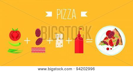Colorful vector banner. Pizza. Quality design illustration, elements and concept. Flat style