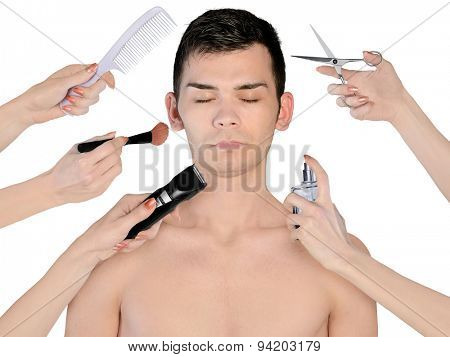 Isolated young man portrait with many hands for beauty treatment