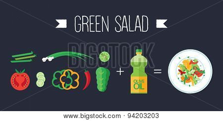 Colorful vector banner. Green salad. Quality design illustration, elements and concept. Flat style