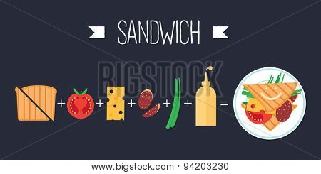 Colorful vector banner. Sandwich. Quality design illustration, elements and concept. Flat style