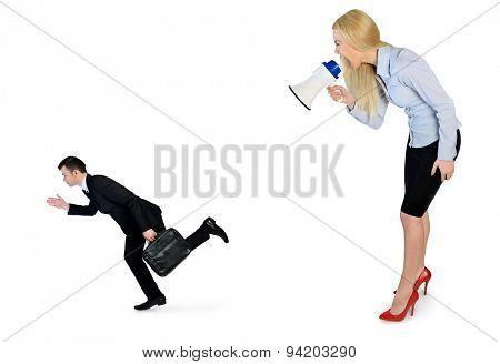 Business woman screaming on megaphone on little man