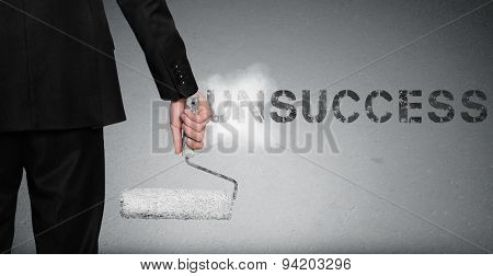 Unsuccess word painting on gray wall