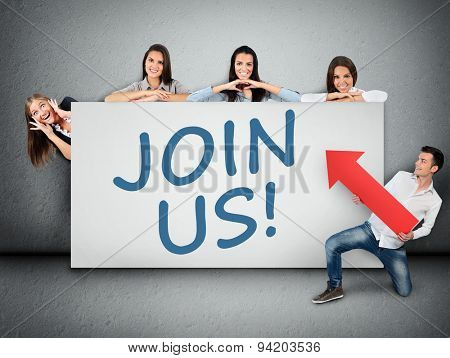 Join us word writing on white banner