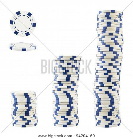 Three stacks of casino chips