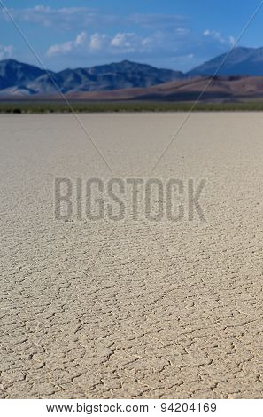 The Racetrack Playa: Dry Mud And Cracked Soil  In Racetrack Playa, Death Valley National Park