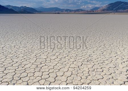 Mud And Clay Of Dried And Unique Racetrack Playa In Deat Valley In California.